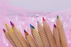 Różni kolorów ołówki z białym tłem obraz royalty free