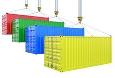 Różni koloru ładunku zbiorniki na dźwigowym haczyku odizolowywającym Zdjęcie Royalty Free