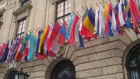 Różni kraje macha flaga w Wiedeń Fotografia Royalty Free