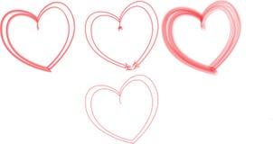Różni kształty serca piórem świętować walentynki Obrazy Stock