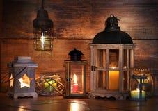Różni lampiony z świeczkami Obraz Stock