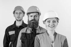 Różni ludzie w drużynie architekci, robotnicy, budowniczowie, fotografia stock