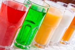 Różni miękcy napoje w szkle Fotografia Stock