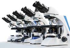 Różni mikroskopy odizolowywający na białym tle fotografia royalty free