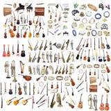 Różni muzyczni instrumenty Zdjęcia Royalty Free