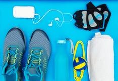 Różni narzędzia i akcesoria dla sporta Fotografia Royalty Free