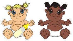 Różni niemowlęta z napojem ilustracji