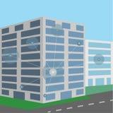Różni podłączeniowi punkty na budynku biurowym ilustracji