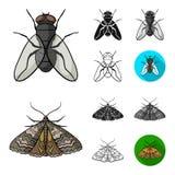 Różni rodzaje insekt kreskówka, czerń, mieszkanie, monochrom, kontur ikony w ustalonej kolekci dla projekta Insekta członkonóg Zdjęcia Stock