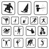 Różni rodzaje sport czarne ikony w ustalonej kolekci dla projekta Atleta, rywalizacja symbolu zapasu wektorowa sieć ilustracja wektor