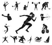 Różni rodzaje sport czarne ikony w ustalonej kolekci dla projekta Atleta, rywalizacja symbolu zapasu wektorowa sieć royalty ilustracja