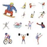 Różni rodzaje sport kreskówki ikony w ustalonej kolekci dla projekta Atleta, rywalizacja symbolu zapasu wektorowa sieć ilustracja wektor