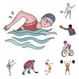 Różni rodzaje sport kreskówki ikony w ustalonej kolekci dla projekta Atleta, rywalizacja symbolu zapasu wektorowa sieć royalty ilustracja