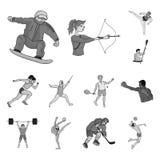Różni rodzaje sport monochromatyczne ikony w ustalonej kolekci dla projekta Atleta, rywalizacja symbolu zapasu wektorowa sieć royalty ilustracja