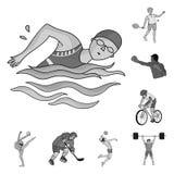Różni rodzaje sport monochromatyczne ikony w ustalonej kolekci dla projekta Atleta, rywalizacja symbolu zapasu wektorowa sieć ilustracja wektor