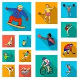 Różni rodzaje sport płaskie ikony w ustalonej kolekci dla projekta Atleta, rywalizacja symbolu zapasu wektorowa sieć royalty ilustracja