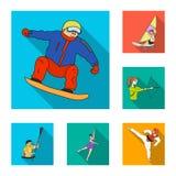 Różni rodzaje sport płaskie ikony w ustalonej kolekci dla projekta Atleta, rywalizacja symbolu zapasu wektorowa sieć ilustracji