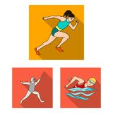 Różni rodzaje sport płaskie ikony w ustalonej kolekci dla projekta Atleta, rywalizacja symbolu zapasu wektorowa sieć ilustracja wektor