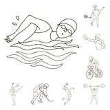 Różni rodzaje sporty zarysowywają ikony w ustalonej kolekci dla projekta Atleta, rywalizacja symbolu zapasu wektorowa sieć ilustracji