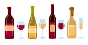 Różni rodzaje wino butelki Bez etykietka projekta Płaskiej ilustraci win szkła z różnorodnymi typ wino i butelki Zdjęcie Stock