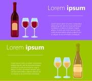 Różni rodzaje wino butelki Bez etykietka projekta Płaskiej ilustraci win szkła z różnorodnymi typ wino i butelki Obraz Royalty Free