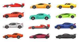 Różni sportowi samochody odizolowywający na bielu Wektorowe ilustracje setkarzi na drodze ilustracji