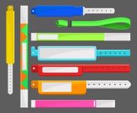 Różni typ bransoletki set, szablony, kontrola lub identyfikacja dla ochrona dostępu przy wydarzeniami wektorowymi, ilustracji