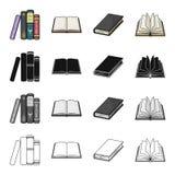 Różni typ książki, literatura, podręcznik, słownik Rezerwuje ustalone inkasowe ikony w kreskówki czerni monochromu royalty ilustracja