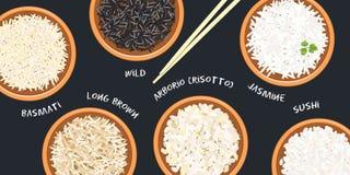 Różni typ ryż w ceramicznych pucharach Basmati, dziki, jaśminowy, długi brąz, arborio, suszi chopsticks Kuchenna bambus mata ilustracji