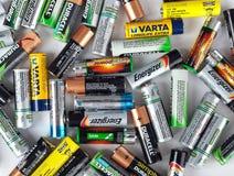 Różni typ używać baterie przygotowywać dla przetwarzać Zdjęcia Royalty Free