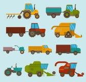 Różni typ wektorowi rolniczy pojazdy, żniwiarz maszyna, syndykaty i ekskawatory, Ikony ustalony rolniczy royalty ilustracja
