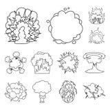 Różni wybuchy zarysowywają ikony w ustalonej kolekci dla projekta Błyśnie wektorową symbolu zapasu sieci ilustrację i płonie Fotografia Royalty Free