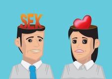 Różnica między mężczyzna i kobietą Chce pojęcie wektor Illust Zdjęcia Royalty Free