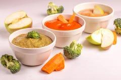 Różnica pureed dziecka jedzenie w glinianych pucharach z składnikami zdjęcie stock