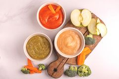 Różnica pureed dziecka jedzenie w glinianych pucharach z składnikami obrazy stock
