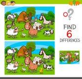 Różnicy gemowe z zwierzęta gospodarskie charakterami ilustracja wektor