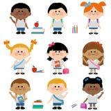 Różnorodna grupa dziecko ucznie ilustracja wektor