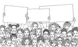 Różnorodna grupa kobiety trzyma pustych znaki royalty ilustracja