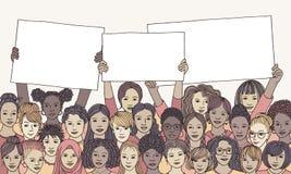 Różnorodna grupa kobiety trzyma pustych znaki ilustracji