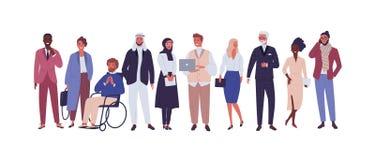 Różnorodna grupa ludzie biznesu, przedsiębiorcy lub urzędnicy odizolowywający na białym tle, Wielonarodowa firma ilustracja wektor