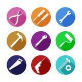 Różnorodna Kolorowa Pracujących narzędzi mieszkania ikona Fotografia Royalty Free
