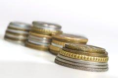 Różnorodna monety kolekcja na białym tle Obraz Stock