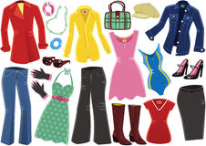 Różnorodne żeńskie ubraniowe rzeczy Zdjęcia Royalty Free