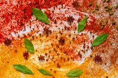 Różnorodne aromatyczne Indiańskie pikantność i ziele na kuchennym stole: gwiazdowy anyż, szafran, turmeric, podpalani liście, pap zdjęcie stock