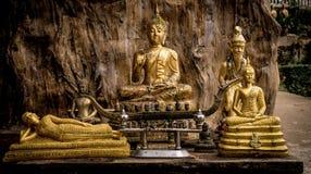 Różnorodne Buddha statuy w świątyni Tajlandia Buddha siedzi, Buddha kłamstwa Drewniany tło Obrazy Royalty Free