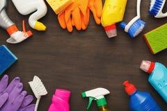 Różnorodne cleaning dostawy, housekeeping tło zdjęcie stock