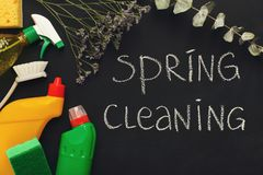 Różnorodne cleaning dostawy, housekeeping tło fotografia royalty free