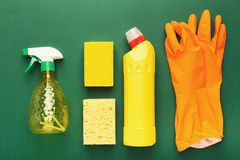 Różnorodne cleaning dostawy, housekeeping tło zdjęcia royalty free