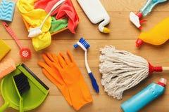 Różnorodne cleaning dostawy, housekeeping tło zdjęcia stock