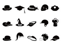 różnorodne czarny inkasowe kapeluszowe sylwetki royalty ilustracja